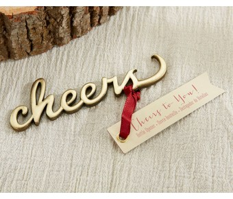 11289NA Cheers Antique Gold Bottle Opener