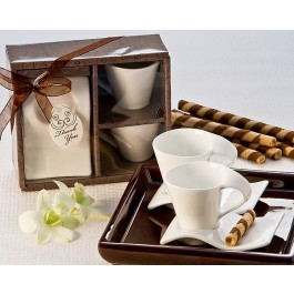 "A92019 ""Swish"" Cup and Biscotti Plate Favor (Set of 2)"
