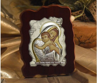 RL1330 Italian Silver Icon Mother and Child on a wood stand Made in Italy
