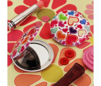 "RB1194 ""Groovy Love"" Heart Shaped Compact Mirror"