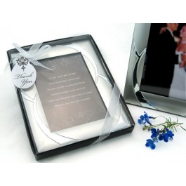 "A11001 ""Double Ring Romance"" Brushed Photo Frame Favor"