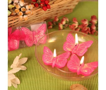 "RB7850HP ""Spring Cheer"" Hot Pink Butterfly Candle Set (3)"