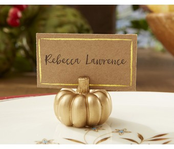 25284NA Gold Pumpkin Place Card Holder (Set of 6)