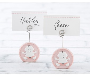 25324PK Baby Girl Pink Place Card Holder (Set of 6)
