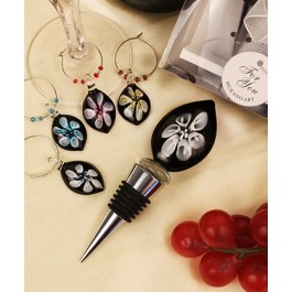 "RB1103 ""Lilies in Bloom"" Glass Bottle Stopper and Matching Wine Charm Set"