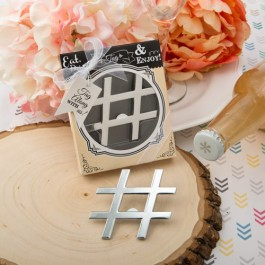 4231 'Hashtag Love' collection chrome finish silver metal bottle opener