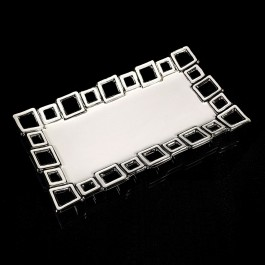 White Ceramic Dish with Silver squares by myitalianfavors.com