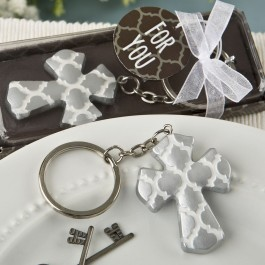 8981 Silver Cross key chain with a Hampton link design from fashioncraft