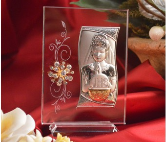 RL440V Italian Silver First Communion Girl icon on a glass stand