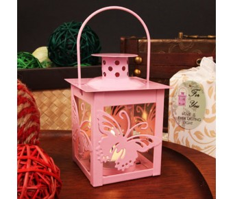 "RB1143 ""Butterfly Light"" Glass Windowed Pink Butterfly Adorned Steel Lantern with Tea Light Candle"