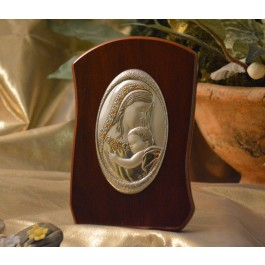 RL770 Italian Silver Mother and Child icon on a wood stand