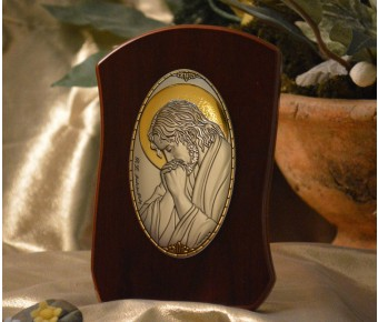RL785Italian Silver praying Jesus Icon Made in Italy icon on a wood stands