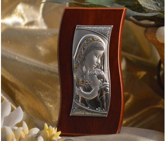 RL470 Italian Silver Mother and Child icon on a wood stand