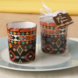 5527 Aztec design glass votive candle holder from fashioncraft