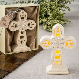 8984 Glowing Ivory color standing cross statue with Led Light