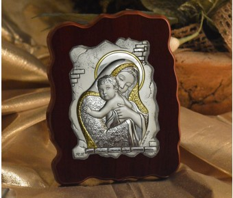 RL1320Italian Silver Icon Mother and Child on a wood stand Made in Italy