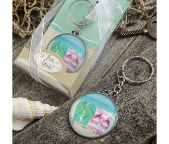 5277 Beach themed flip flop design key chain with a clear glass dome
