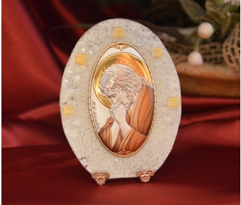 70MUR Made in Italy praying Jesus color on a Murano Glass Stand