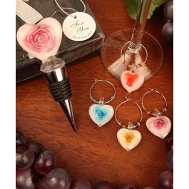"RB1102 ""Roses in Bloom"" Glass Bottle Stopper and Matching Wine Charm Set"