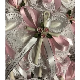 CF1513 Confetti Almond Flowers favors Jordan almonds flowers Baptism Christening with Capodimonte cross Favors First Communion Bomboniere