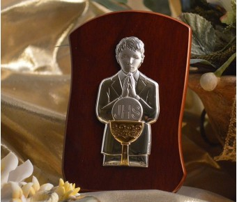 RL230 Italian Silver First Communion Boy icon on a wood stand