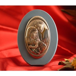 RL1730 Italian Silver Holy Family Icon Made in Italy icon on a wood stand (Baby Blue)