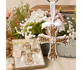 8697 Stunning vintage design cross ornament from fashioncraft