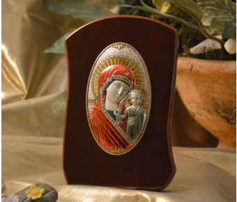 RL780x Italian Silver Orthodox Greek Icon Lady Mary Made in Italy icon on a wood stand