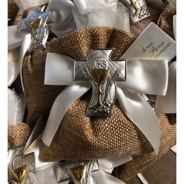 AF2319 Almond favors, Communion favors with made in Italy chalice, favors, koufeta mementos, italian favors Bomboniere, burlap bag