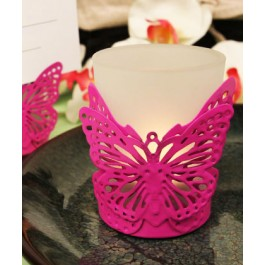 """RB1134 """"Latticed Butterfly"""" Pink Butterfly Shaped Steel Candle/Card Holder with Glass Cup and Tea Light Candle"""