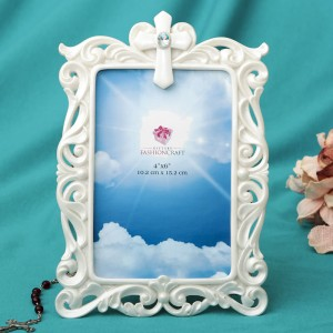12890 Stunning Pearl white Cross frame - 4 x 6 from Gifts By fashioncraft