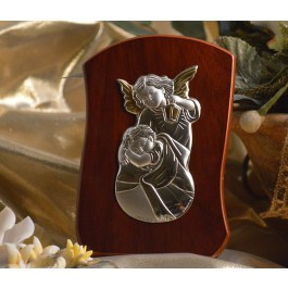 RL250 Italian Silver Guardian Angel icon on a wood stand