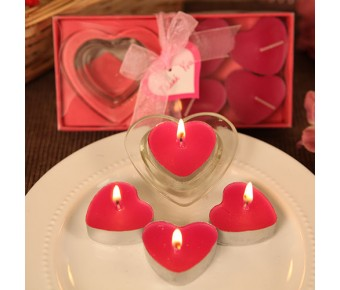 "RB7741HP ""Love's Burning Bright"" Heart Shaped Candle Holder with Hot Pink Heart Shaped Candles"