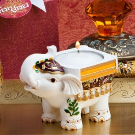 8652 Good Luck Elephant Candle Holders