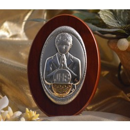 RL130 Italian Silver First Communion Boy icon on a wood stand