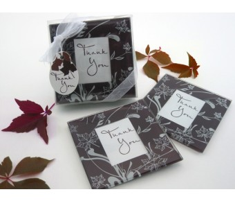 "A51016 ""Falling Leaves"" Leaf Themed Glass Photo Coasters (Set of 2)"