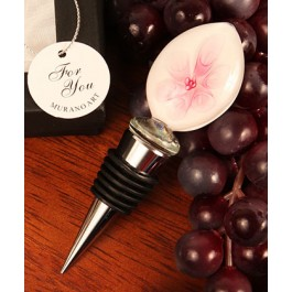 "RB1098 ""Pink Lily"" Round Shaped Arte Murano Glass Bottle Stopper"