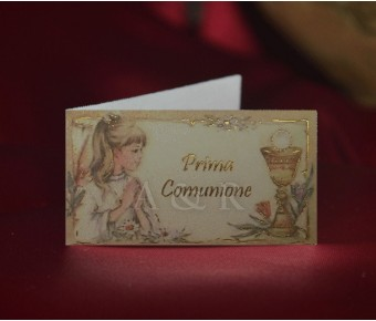 C229 First Communion Girl Favor Tags Bigliettini