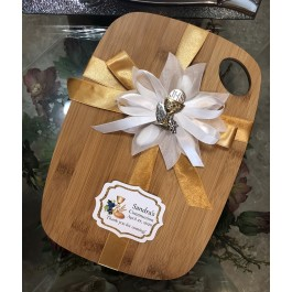 Bamboo Cutting Board with Confetti flower and tag first communion by myitalianfavors.com