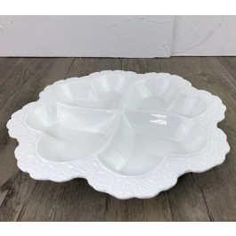 LC151 - White Ceramic oval Platter with decor by myitalianfavors.com
