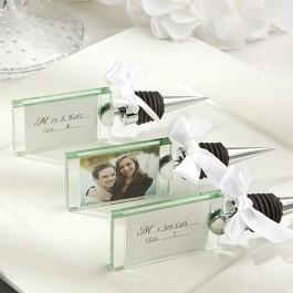 1944 Photo place card holder wine bottle stopper
