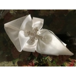 AF2314 Cone Favor bag with rhinestone cross pendant, baptism Communion  Favors Bomboniere
