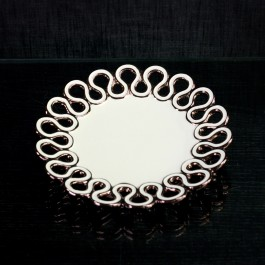 Round Ceramic Candy with Rose Gold trim by myitalianfavors.com