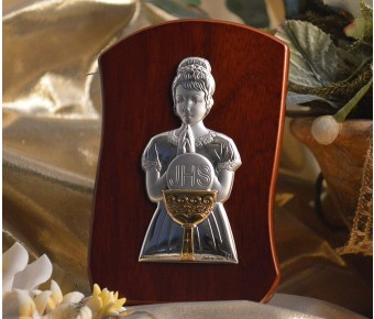 RL240 Italian Silver First Communion Girl icon on a wood stand