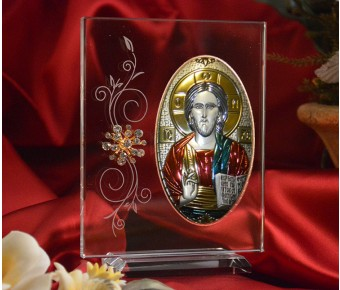 RL190VXItalian Silver Greek Orthodox Christ icon with colors on a glass stand