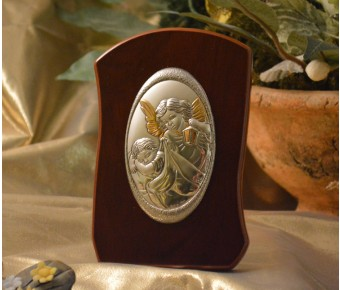 RL750 Italian Silver Guardian Angel icon on a wood stand