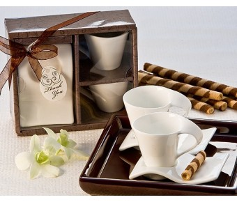 """A92019 """"Swish"""" Cup and Biscotti Plate Favor (Set of 2)"""