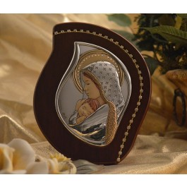 RL2600 Italian Silver Mother and Child icon on a wood stand