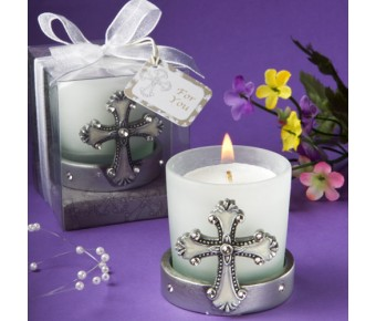 5444 <em>Regal Favor Collection</em> Cross Themed Candle Holders