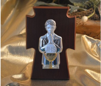 RL330 First Communion Boy icon a wood stand Made in Italy